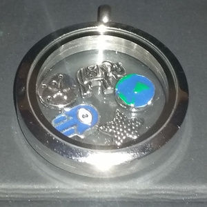 Origami Owl Large Silver Locket with charms